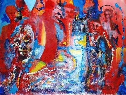 Rudolf Lehmann, Der Schlaf, Abstract art, Fantasy, Neo-Expressionism