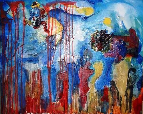 Rudolf Lehmann, Die Wartenden, Abstract art, People: Group, Neo-Expressionism