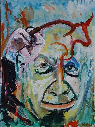 Rudolf Lehmann, Picasso malt Stier, Fantasy, People: Portraits, Neo-Expressionism