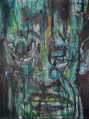 Rudolf Lehmann, Green, Emotions: Grief, People: Men, Neo-Expressionism