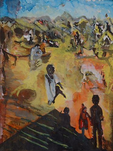 Rudolf Lehmann, Hilf mir, Meal, People: Children, Neo-Expressionism
