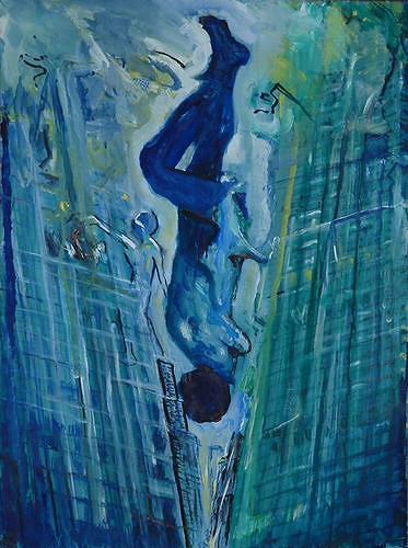 Rudolf Lehmann, Der Fall, Buildings: Skyscrapers, Emotions: Fear, Neo-Expressionism