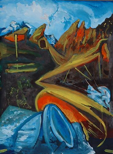 Rudolf Lehmann, Im Gebirge, Abstract art, Landscapes: Mountains, Neo-Expressionism