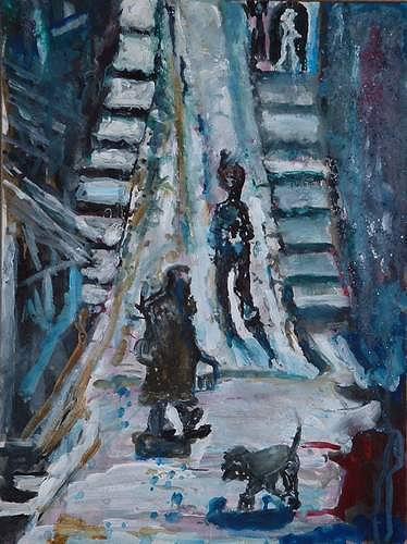 Rudolf Lehmann, Städtchen im Süden, Interiors: Villages, Emotions: Safety, Neo-Expressionism