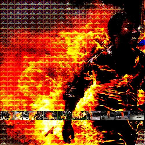 Theo Hues, Burning Tibet, People: Faces, Contemporary Art, Abstract Expressionism