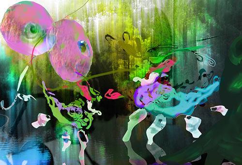 Rotraut Richter, Spielwiese der Fantatiere, Miscellaneous Romantic motifs, Burlesque, New Image Painting, Expressionism