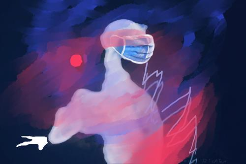 Rotraut Richter, FEURIGER CORONADRACHEN + MASKE, Burlesque, Emotions: Horror, New Image Painting, Abstract Expressionism