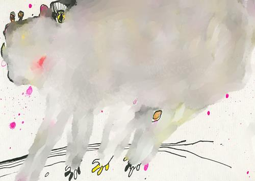 Rotraut Richter, WOLKENFANTATIER A, Miscellaneous Animals, Fantasy, New Image Painting, Abstract Expressionism