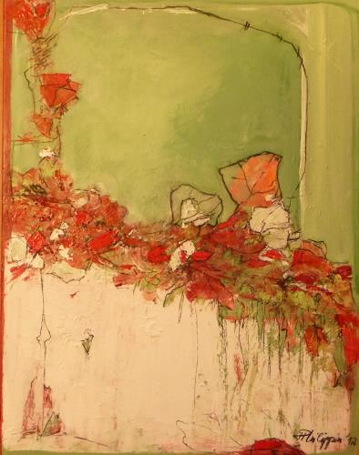 Philippin, Inge, Red Flowers, Abstract art, Plants: Flowers, Contemporary Art, Expressionism