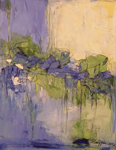 Philippin, Inge, Water Lilies Pond, Abstract art, Plants: Flowers, Contemporary Art, Expressionism
