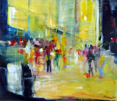 Philippin, Inge, People at a stroll, Abstract art, People: Group, Abstract Expressionism, Expressionism