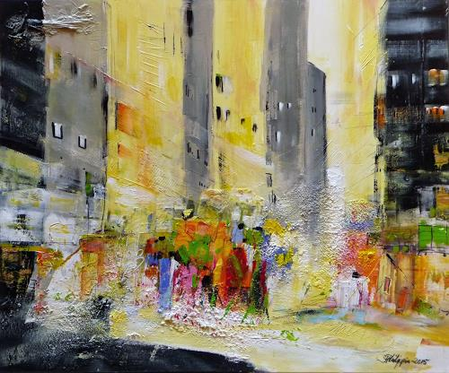 Philippin, Inge, Downtown Manhattan 2, Interiors: Cities, People: Group, Contemporary Art, Expressionism