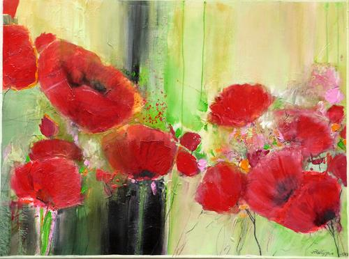 Philippin, Inge, Poppy Field, Plants: Flowers, Expressive Realism, Expressionism