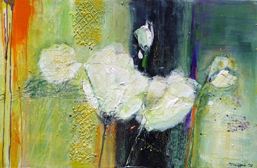 Philippin, Inge, White Tulips, Plants: Flowers, Decorative Art, Contemporary Art, Expressionism