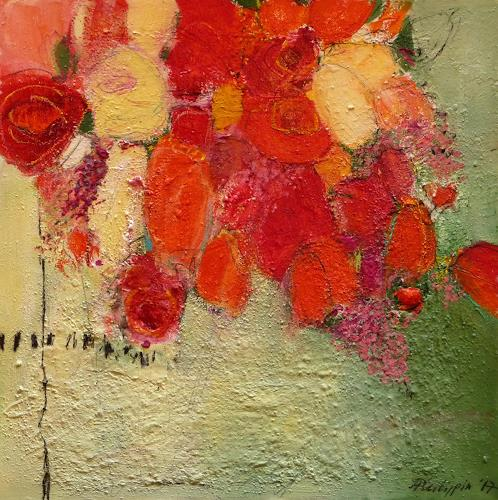 Philippin, Inge, Red Roses, Plants: Flowers, Nature: Miscellaneous, Abstract Expressionism, Expressionism