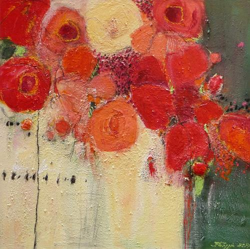 Philippin, Inge, Red Roses 2, Plants: Flowers, Decorative Art, Contemporary Art, Expressionism