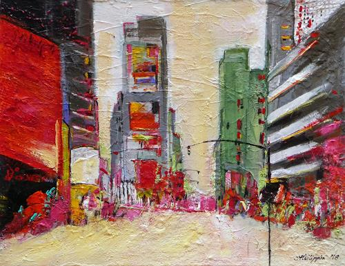 Philippin, Inge, Big City Bustle 2, Buildings: Skyscrapers, People: Group, Contemporary Art, Expressionism