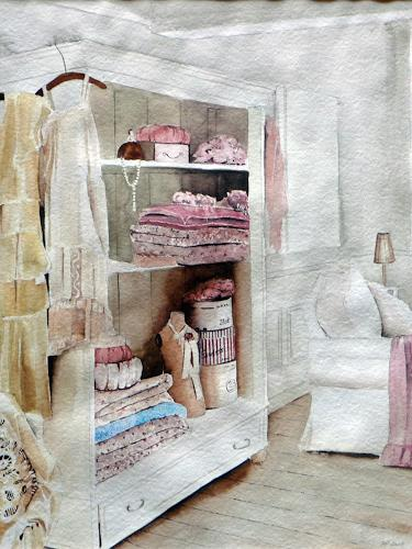 Philippin, Inge, Rosa's Ankleidezimmer, Interiors: Rooms, Miscellaneous Romantic motifs, Contemporary Art