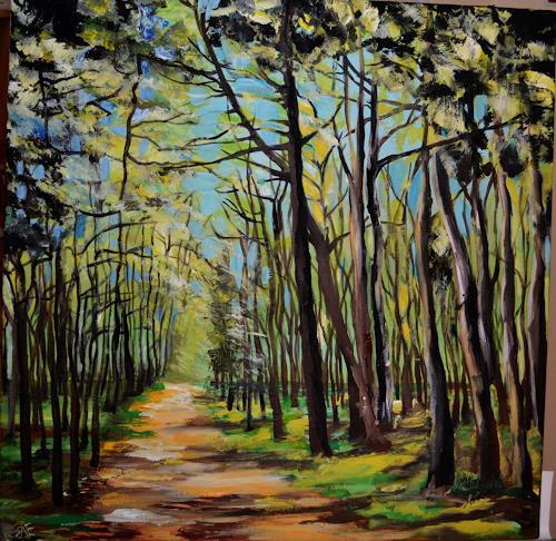 Yakuba Elena, In jungem Wald, Landscapes: Spring, Plants: Trees, Naturalism, Expressionism