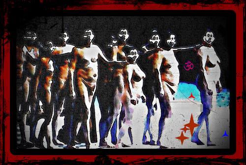 Karlheinz König, AUFSTAND DER MÄUSE, People: Group, Miscellaneous Erotic motifs, Op-Art, Abstract Expressionism