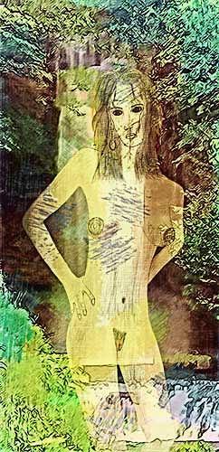 Micborn, Die Nymphe, Erotic motifs: Female nudes, Mythology