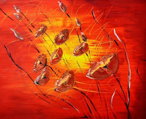 Barbara Straessle, Mohnblueten 8, Plants: Flowers, Landscapes: Summer, Contemporary Art