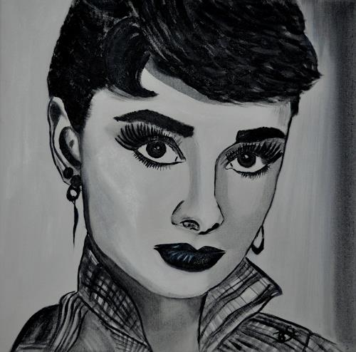 Barbara Straessle, Audrey Hepburn, People: Portraits, People: Women, Contemporary Art, Abstract Expressionism