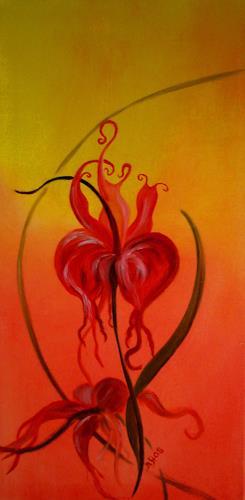 Barbara Straessle, Feuerblume, Fantasy, Plants: Flowers, Art Déco