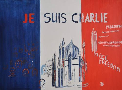 Barbara Straessle, Je suis Charlie, People: Group, Society, Contemporary Art