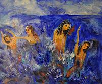 Barbara-Straessle-People-Group-Landscapes-Sea-Ocean-Contemporary-Art-Contemporary-Art