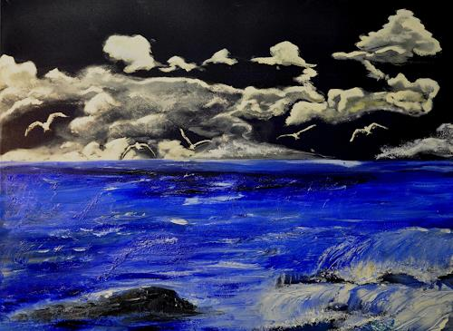 Barbara Straessle, Möwen am Strand, Landscapes: Sea/Ocean, Animals: Air, Modern Age