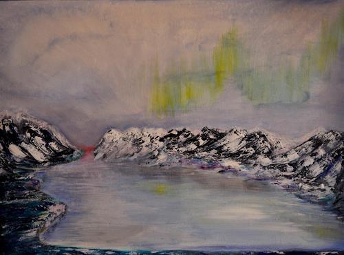 Barbara Straessle, Island - Nordlicht und Berge, Landscapes: Sea/Ocean, Landscapes: Mountains, Naturalism