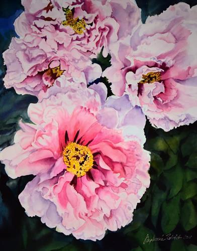 Stephanie Zobrist, Peonies, Plants: Flowers, Landscapes: Spring, Hyperrealism