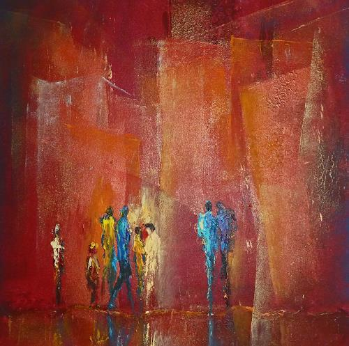 Soraya Hamzavi-Luyeh, Was ist los?, Abstract art, People: Group, Modern Age, Expressionism