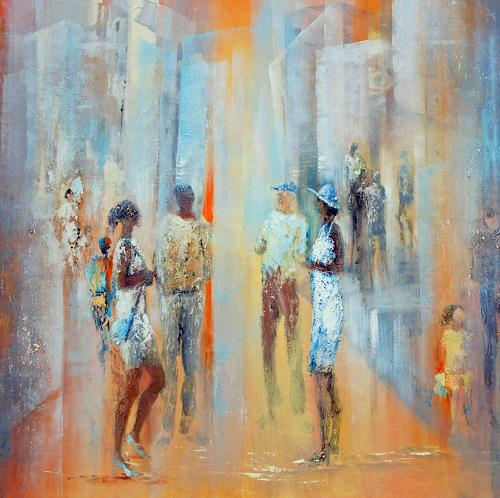 Soraya Hamzavi-Luyeh, Erster Frühlingstag, People: Group, Society, Modern Age, Expressionism