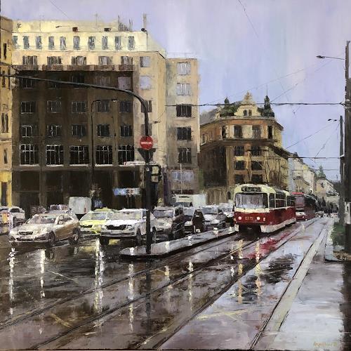 Martina Krupickova, I.P.Pavlova in Prague, Traffic: Car, Miscellaneous Traffic, Contemporary Art, Expressionism