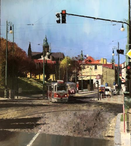 Martina Krupickova, No 22 - At Ujezd (Prague), Miscellaneous Traffic, Situations, Contemporary Art, Expressionism