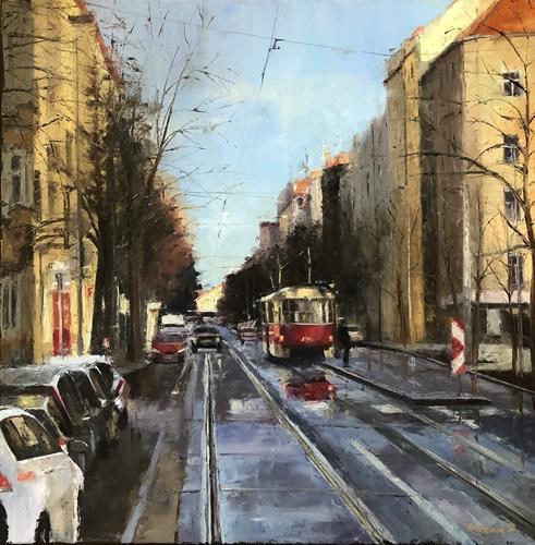 Martina Krupickova, On the Korunni street in Prague, Miscellaneous Traffic, Architecture, Contemporary Art, Expressionism