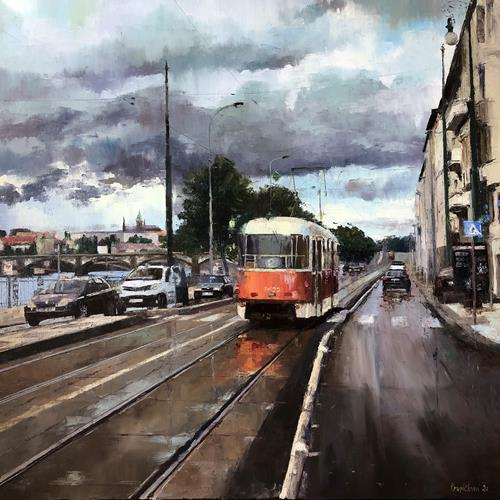 Martina Krupickova, Tram No 2 at Vyton in Prague, Miscellaneous Traffic, Situations, Contemporary Art, Expressionism