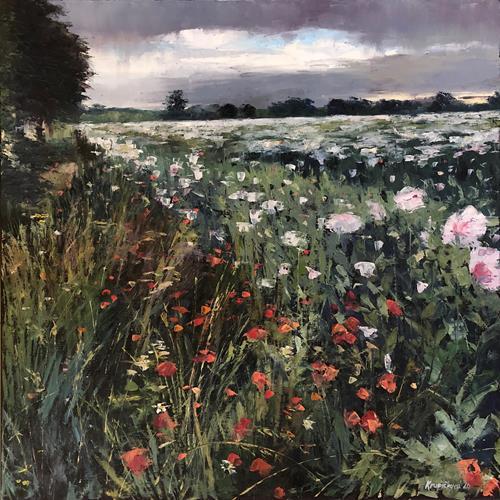 Martina Krupickova, Summer Poppies, Landscapes: Summer, Miscellaneous Landscapes, Contemporary Art, Expressionism