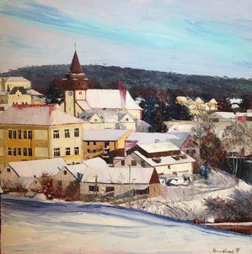 Martina Krupickova, Snowy Svetlá nad Sázavou, Landscapes: Winter, Miscellaneous Landscapes, Contemporary Art
