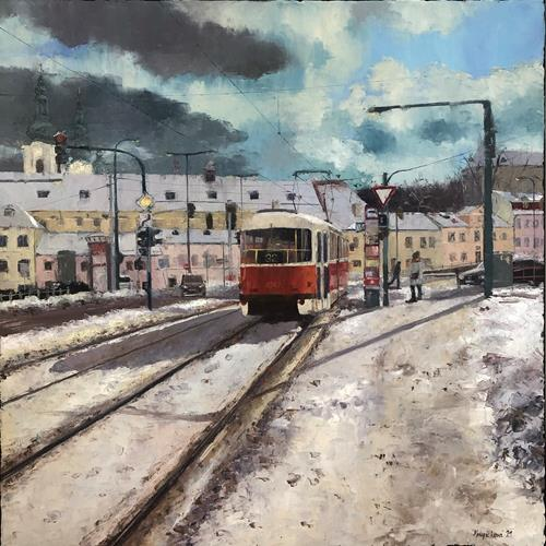 Martina Krupickova, At Pohorelec, Miscellaneous Traffic, Landscapes: Winter, Contemporary Art, Expressionism