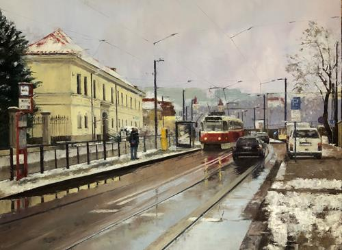 Martina Krupickova, Albertov in Prague, Landscapes: Winter, Miscellaneous Traffic, Contemporary Art