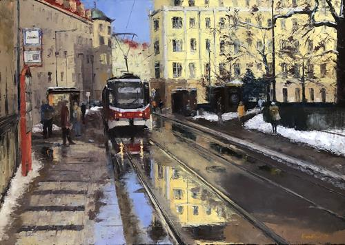 Martina Krupickova, Winter melt into Spring 2021 (50 x 70 cm), Miscellaneous Traffic, Miscellaneous Buildings, Contemporary Art