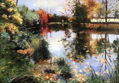 Martina Krupickova, Malá rícka near Stromovka, Landscapes: Autumn, Miscellaneous Landscapes, Contemporary Art, Expressionism