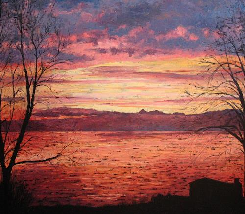 Martina Krupickova, Sunrise over lake Geneva, Romantic motifs: Sunrise, Miscellaneous Romantic motifs, Neo-Impressionism, Expressionism