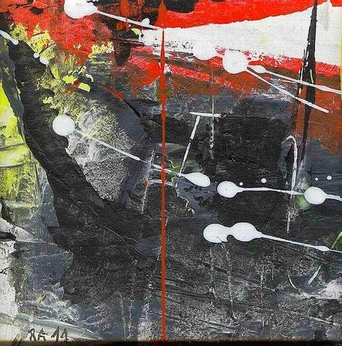 Josef Rabitsch, vom Dunkeln ins Licht, Abstract art, Fantasy, Action Painting, Abstract Expressionism