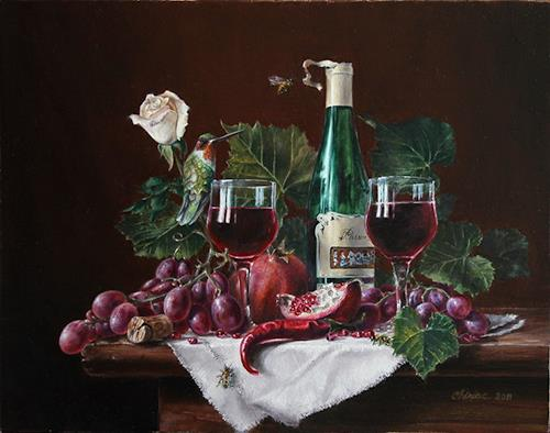"Daniel Chiriac, Commissioned still life painting ""Passion of Tim, Still life, Harvest, Realism, Expressionism"
