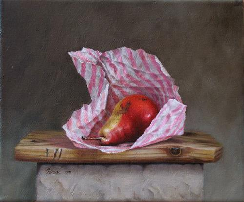 Daniel Chiriac, Still life - wrapped pear, Still life, Meal, Realism