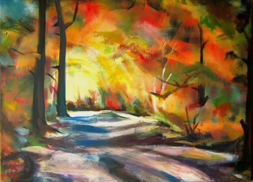 Renée König, Herbstweg II, Landscapes: Autumn, Nature: Wood, Expressive Realism, Expressionism